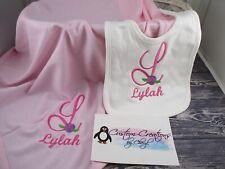 Shabby Rose Monogram Personalized Baby Toddler Blanket & Bib Combo Set Girl
