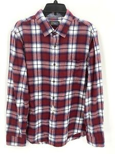 Wallin & Bros Red Rhubard Plaid Long Sleeve Button Up Shirt Mens Size Large