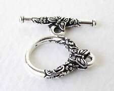 TierraCast Antiqued Silver Ox Toggle Clasp Butterfly Flower Bar and Ring Finding