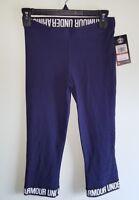 NEW Under Armour Women's XS 'Favorite'  Wordmark Capri Pants 1287130 NAVY #96218