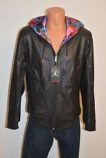 nike air jordan leather jacket black grey