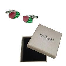 Mens Pink & Green Oval Cufflinks & Gift Box By Onyx Art