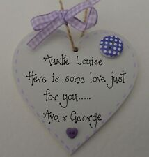 Personalised special  Auntie handcrafted wooden heart 8cm gift keepsake present
