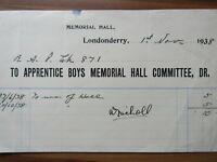 Old antique document receipt - Londonderry - Apprentice boys N-Irish