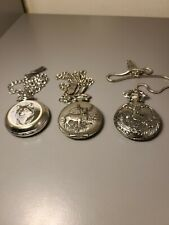 Three Animal Pocket Watches Wolf and Deer