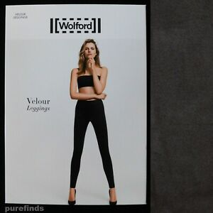 WOLFORD VELOUR GRAPHIT LEGGINGS SIZE 34 UK 6 SUEDE EFFECT, RRP £225