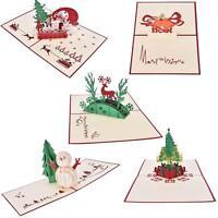 Christmas Cards Set 3D Pop-up Greeting Card - Set of 5