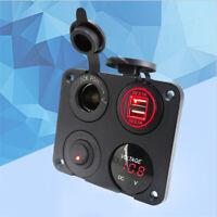12V Car Cigarette Lighter Socket Charger Adapter Dual USB Voltmeter Switch Panel