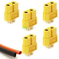 5x Female XT60 Lipo Battery Connectors & Heat-Shrink RC Plane Helicopter Quad UK