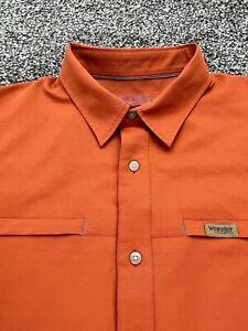 Wrangler Mens Shirt Sz XL Rugged Wear Long Sleeve Button Polyester Burnt Orange