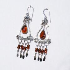 Ohrringe Bernstein Chandelier Ohrhänger Damen Ohrschmuck Neu Handmade Peru