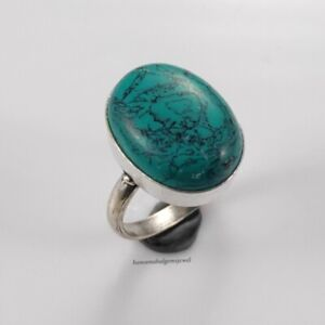 Turquoise Sterling Silver Rings 925 Solid Handmade Rings Any Size Women Jewelry
