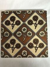 Vintage Brown Floral Graphic Art Tile, Arts & Crafts, Art Pottery 6x6x.50