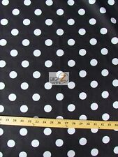 BIG POLKA DOT POLY COTTON PRINT FABRIC-Black/White-SOLD BTY POLYCOTTON 58/59 P95