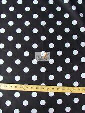 BIG POLKA DOT POLY COTTON PRINT FABRIC-Black/White-SOLD BTY POLYCOTTON 58/59 P95