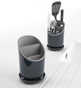 XILOSIN Titolare 1PC Nero utensile da Cucina Caddy Posate scolaposate con 3-Organizer e scolapiatti