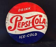 Pepsi Drink Label Round TIN SIGN Pepsi Ice Cold Metal Diner Bar Wall Decor