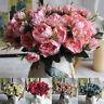 Flores Artificiales Peonía de Hojas Ramo Fiesta Boda Jardín Hogar Decoración