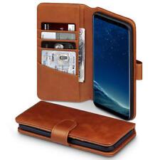 Lujo Cuero Real Estuche tipo Billetera con Ranuras para tarjetas para Samsung Galaxy S8 Plus-Cognac