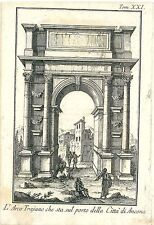 1757 ANCONA Veduta arco di Traiano Marche Salmon Acquaforte su rame Albrizzi