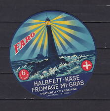 Ancienne étiquette Fromage Suisse pour exportation Faro Phare
