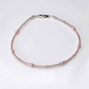 Pink Glass Pearl and Rosaline Ab Seedbead Bracelet