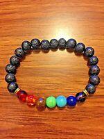 7 Chakra Bead Lava Rock Life Energy Well Being Stretch Bracelet