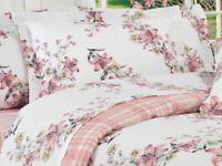 100% Cotton Eiva Rosa Duvet Cover With Pillowcase Quilt Bedding Set Single Size