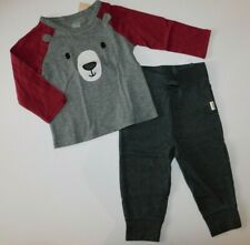 NWT Gap/First Impressions Baby Boy 2 Pc Set Bear T-Shirt/Gray Pants 18M New