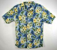 Cherokee Waikiki Wear Hawaiian Men's Shirt Size Large Blue Floral Beach EUC