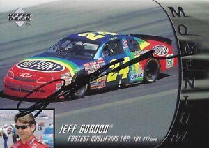 AUTOGRAPHED Jeff Gordon 1996 Upper Deck Racing MOMENTUM Signed NASCAR Card COA