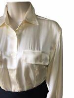 Womens UK 16 Silk Satin Cream Ivory Career Shirt Top Business Work Office Blouse