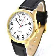 Ravel Mens Big Number Watch Big Clear White Face Minutes Long Black Strap Goldto