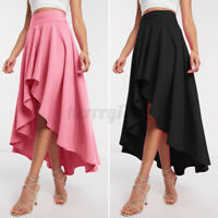 Womens High Waist Maxi Skirt Ladies Holiday Ruffle Swing Loose Dress Beach Party