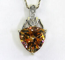 Diamond mystic topaz pendant necklace 14K w/gold round brilliant trillion 10.05C