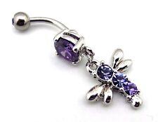 Dragonfly Belly Ring Purple CZ Jewel Gemstone Dangle Navel Bar Body Jewelry