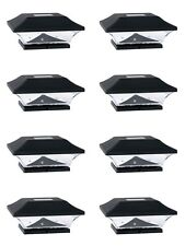 8 PC LED Outdoor Garden Solar Powered Deck Cap Square Fence Post Lights Black