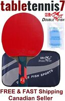 GENUINE Double Fish 7 Star Ping Pong Paddle Table Tennis Racket, Case & Sponge