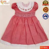 Smocked Dress Christmas Baby Toddler Girls Handmade Vintage Australian Classic