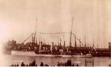 lowestoft photographic postcard,topedo gunboat, hms leda in harbour  c1914 vgc