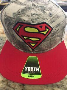DC Comics Superman Gray & Red Boys Flat Brim Baseball Cap Ball Hat New