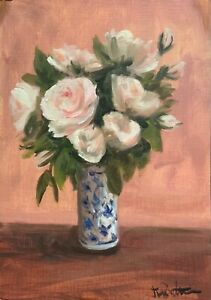 Original oil painting art floral vintage style shabby chic vase of pink roses