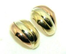 Ladies/womens 9ct 9carat 3 colour gold huggie earrings