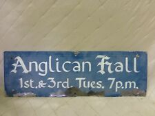 Anglican Church Painted Sign Religious Christian Hall Pender Island BC Blue
