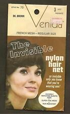VINTAGE DARK BROWN FRENCH MESH NYLON HAIR NET IN PACKAGE