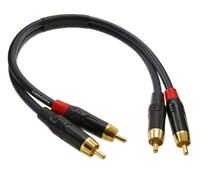 1ft 2-RCA to 2-RCA Gold-Plated Male to Male DJ/Mixer/Stereo System Audio Cable