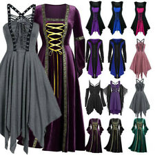 Womens Retro Gothic Punk Lace Up Victorian Medieval Witch Cosplay Fancy Dress UK