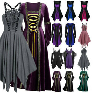 Womens Vintage Gothic Punk Victorian Medieval Witch Costume Cosplay Fancy Dress