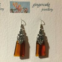STUNNING LARGE EGYPTIAN DECO STYLE RICH BROWN GLASS SILVER PLATED DROP EARRINGS