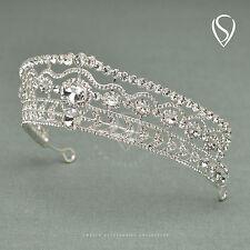 SWEETV Royal Clear Crystal Wedding Tiara Gold Prom Princess Crown Hair Accessory